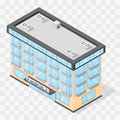 The building of the hospital. Flat isometric. Royalty Free Stock Photo