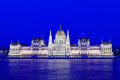 Building of the hungarian parliament with night illumination budapest hungary Royalty Free Stock Image