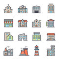 Building icon bold stroke with color on white background vector illustration Royalty Free Stock Image