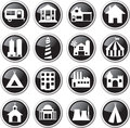 Building icon set buildings black and glossy Stock Images