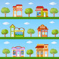 Building icon set. Store and cafe building front view on nature