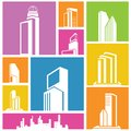 Building icons background city metropolis icon colorful Royalty Free Stock Images