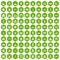 100 building icons hexagon green