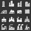 Building icons set isolated on white background Royalty Free Stock Photography