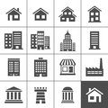 Building icons set vector illustration simplus series Stock Photo