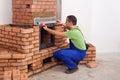 Building a masonry heater Stock Photo