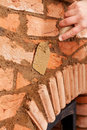 Building a masonry heater - detail Stock Image