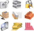 Building materials icons detailed set Royalty Free Stock Photo