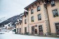 The building of montenvers railway station in chamonix france winter Royalty Free Stock Images