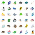 Building of the municipality icons set, isometric style Royalty Free Stock Photo