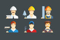 Building occupation. Set of flat icons Royalty Free Stock Photo