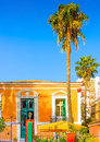 Building with palms historic beautiful around in nafplio town in greece Stock Photography