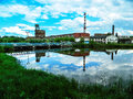 The building of the paper factory in the Russian city of Kondrovo of the Kaluga region. Royalty Free Stock Photo