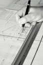 Building plans being drawn A Royalty Free Stock Images