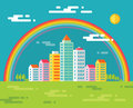 Building and rainbow in city - vector concept illustration in flat design style for presentation, booklet, web site and different