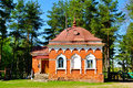 Building of red brick, built in the 19th century to the cells of the monks hermits. Peryn Skete in Veliky Novgorod, Russia. Royalty Free Stock Photo