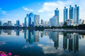 Building reflect general and blue sky bright day with in bangkok Royalty Free Stock Images