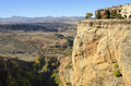 Building on rock beautiful view of the countryside of ronda a city of the province of malaga andalusia spain Royalty Free Stock Photo
