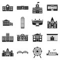 Building set icons in black style. Big collection building vector symbol stock illustration