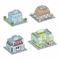Building set of isometric buildings compose your own city Stock Photography