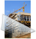 Building site and building plans Royalty Free Stock Photo
