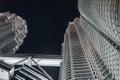 Building skin of Twin Towers at night in Kuala Lumpur, Malaysia Royalty Free Stock Photo