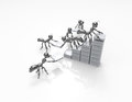 Building statistics growth d cartoon ants Royalty Free Stock Photos