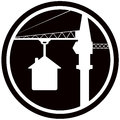 Building symbol with home and construction crane house silhouette Royalty Free Stock Images