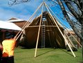 Building a tent putting up large at winery in margaret river australia Stock Photography