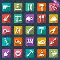 Building and tools icons flat Royalty Free Stock Photo