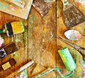 Building tools on a wooden floor frame Royalty Free Stock Photo