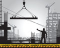 Building under construction silhouette. Royalty Free Stock Photo