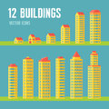 12 building vector icons in flat design style for presentation, booklet, website etc. Architecture vector signs collection. Royalty Free Stock Photo