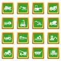 Building vehicles icons set green