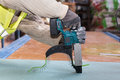 Building a wall for frame house. Worker use autofeed screwdriver for attaching drywall. Royalty Free Stock Photo
