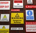 Building warning signs Stock Image