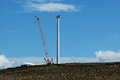 Building a wind turbine windmills in sicily countryside looking for new energy Royalty Free Stock Images