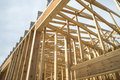 Building wood framing of a new commercial under construction Stock Photos