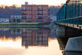 Buildings along grand river and th street bridge in rapids michigan Royalty Free Stock Photo