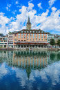 Buildings along the Limmat river in the historic part of Zurich Royalty Free Stock Photo