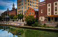 Buildings along the Providence River in Providence, Rhode Island Royalty Free Stock Photo