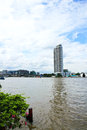 Buildings along the river the view from santi chai prakan park attractions in bangkok thailand Stock Images