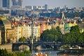 Buildings along the Vltava river, Prague Royalty Free Stock Photo