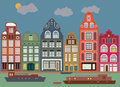 Buildings in amsterdam color illustration Royalty Free Stock Photos