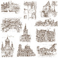 Buildings and architecture famous places around the world set no white collection of an hand drawn illustrations description full Stock Images