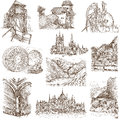 Buildings and architecture famous places around the world set no white collection of an hand drawn illustrations description full Royalty Free Stock Photo