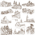 Buildings and architecture famous places around the world set no white collection of an hand drawn illustrations description full Stock Photography