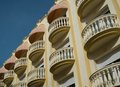 Buildings with balconies beautiful in town of sitges spain Stock Photo