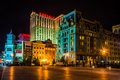 Buildings on the boardwalk at night in Atlantic City, New Jersey Royalty Free Stock Photo