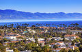 Buildings coastline pacific ocean santa barbara california orange roofs Stock Image
